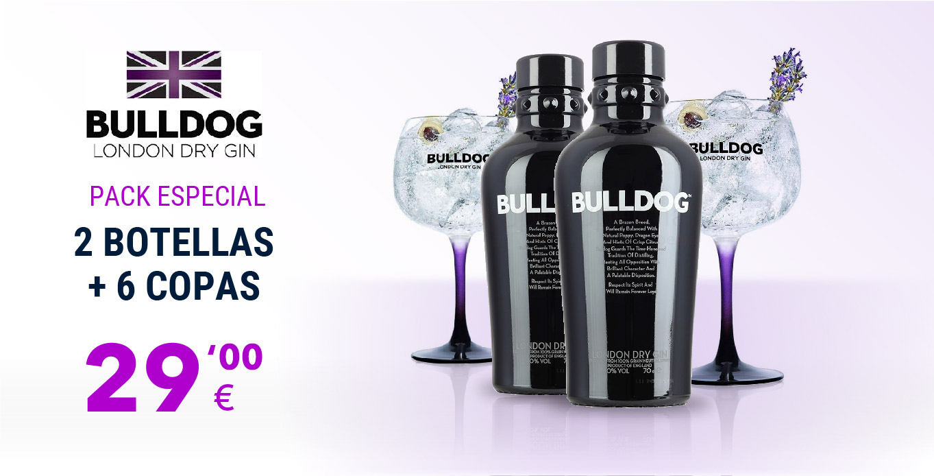 Pack Especial - 2 Botellas Bulldog + 6 Copas
